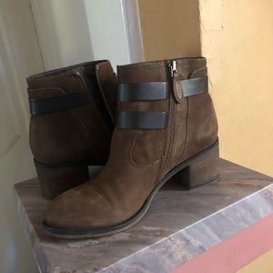 Brown Bootie Heels with Strap